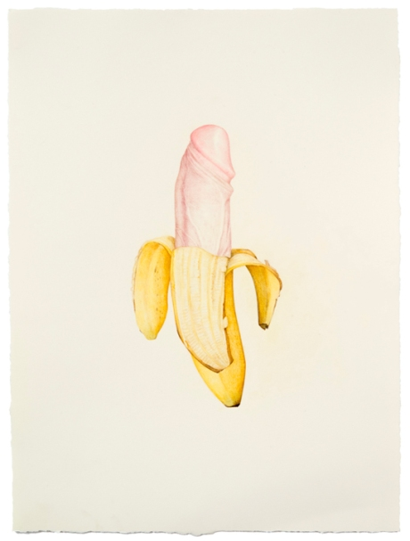"© Aurel Schmidt, Untitled (Dick Banana), colored pencil on paper, 17.5"" x 13"", 2013"