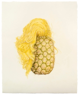 "© Aurel Schmidt, Selfie (Pineapple Hair), colored pencil on paper, 19.5"" x 16"", 2013"