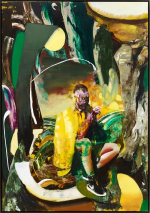 © Adrian Ghenie, Self-Portrait Smoking, 2015 Oil on canvas, 230 x 160 cm (90,55 x 62,99 in), photo : Jörg von Bruchhausen