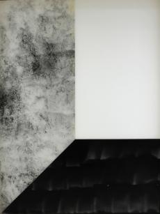 Vue de l'exposition « Pia Rondé & Fabien Saleil - La campagne est noire de soleil » Galerie Escougnou-Cetraro, Paris Pia Rondé & Fabien Saleil, Humeur vitrée, Noir humide, 2016 Photogramme sur verre céramique. 80 x 60 cm. Unique Courtesy des artistes et Galerie Escougnou-Cetraro